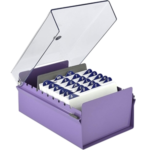 Acrimet 4 X 6 Card File Holder Organizer Metal Base Heavy Duty (Purple Color with Crystal Plastic Lid Cover) Code 922.9