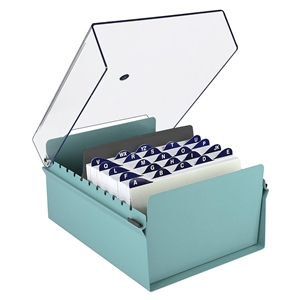 Acrimet 5 X 8 Card File Holder Organizer Metal Base Heavy Duty (Green Color with Crystal Plastic Lid Cover) Code 923.6