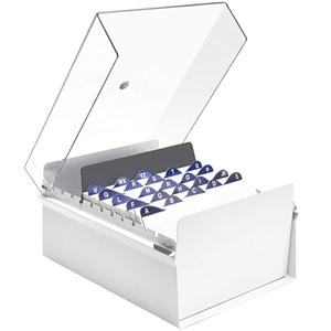 Acrimet 5 X 8 Card File Holder Organizer Metal Base Heavy Duty (White Color with Crystal Plastic Lid Cover) Code 923.8