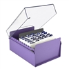Acrimet 5 X 8 Card File Holder Organizer Metal Base Heavy Duty (Purple Color with Crystal Plastic Lid Cover) Code 923.9
