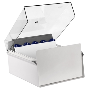 Acrimet 6 x 9 Card File Holder Organizer Metal (AZ Index Cards and Divider Included) (White Color with Crystal Plastic Lid Cover) 924.8