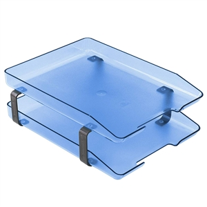 Acrimet Traditional Letter Tray 2 Tiers Front Load Design (Clear Blue)