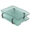 Acrimet Traditional Letter Tray 2 Tiers Front Load Design (Clear Green)