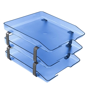 Acrimet Traditional Letter Tray 3 Tiers Front Load Design (Clear Blue)