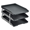 Acrimet Traditional Letter Tray 3 Tiers Front Load Design (Black)