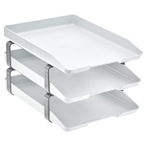 Acrimet Traditional Letter Tray 3 Tiers Front Load Design (White)