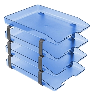 Acrimet Traditional Letter Tray 4 Tiers Front Load Design (Clear Blue)