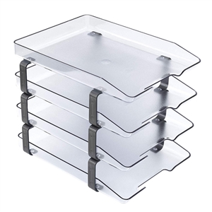 Acrimet Traditional Letter Tray 4 Tiers Front Load Design (Clear Crystal)