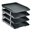 Acrimet Traditional Letter Tray 4 Tiers Front Load Design (Black)