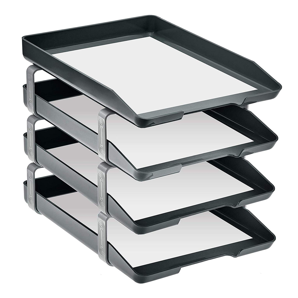 Acrimet Traditional Letter Tray 4 Tiers Front Load Design Black