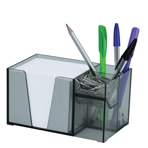 Acrimet Desk Organizer Pencil Paper Clip Holder Smoke Color (With Paper)