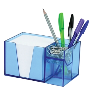 Acrimet Desk Organizer Pencil Paper Clip Holder Clear Blue Color (With Paper)