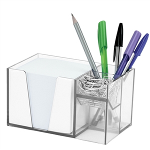 Acrimet Desk Organizer Pencil Paper Clip Holder (Crystal Color) (With Paper)