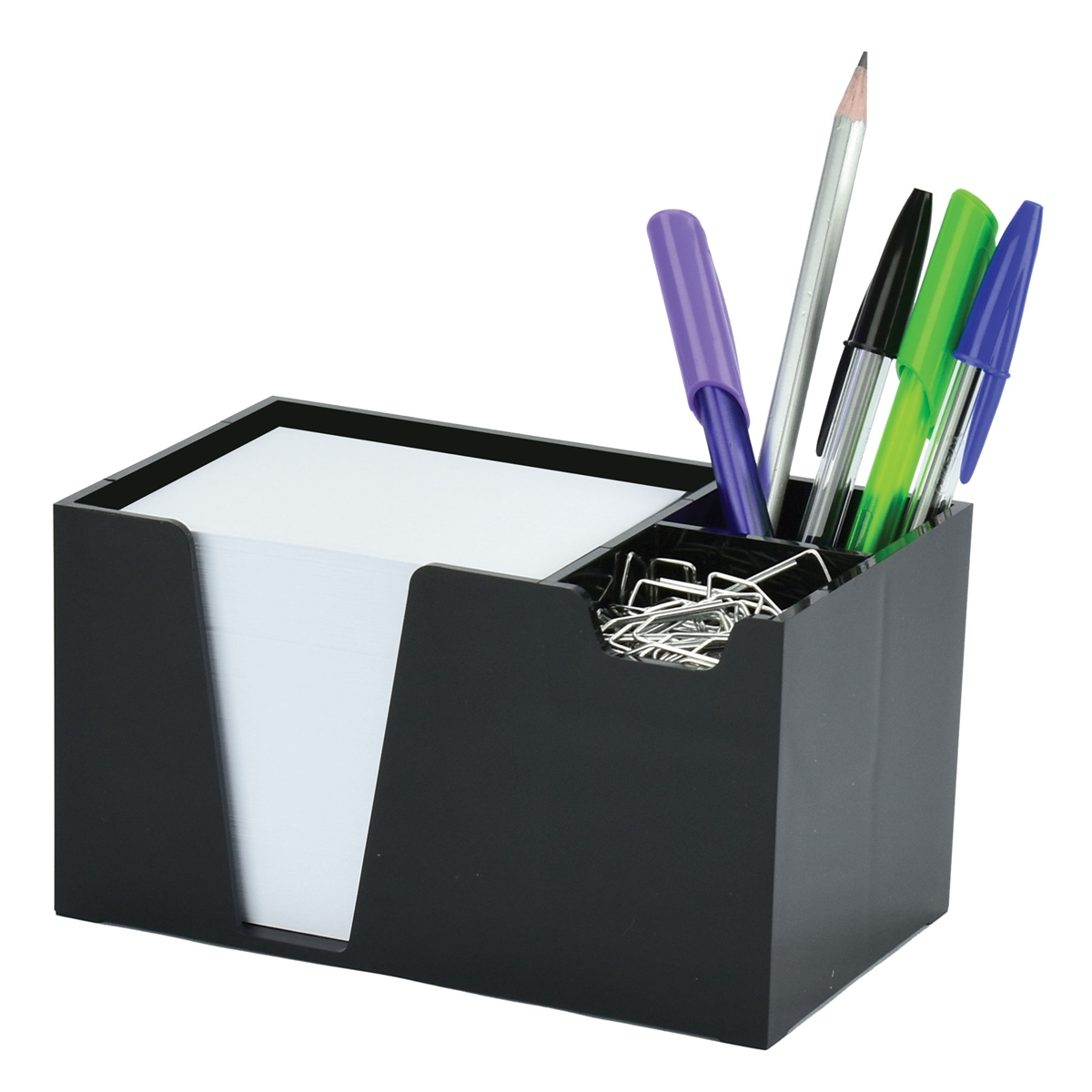 Acrimet Desk Organizer Pencil Paper Clip Holder Black Color (With Paper)
