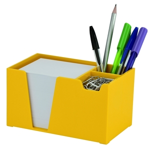 Acrimet Desk Organizer Pencil Paper Clip Holder (Yellow Color) (With Paper)