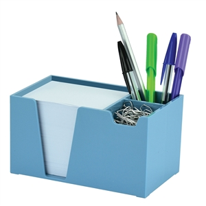 Acrimet Desk Organizer Pencil Paper Clip Holder (Solid Blue Color) (With Paper)