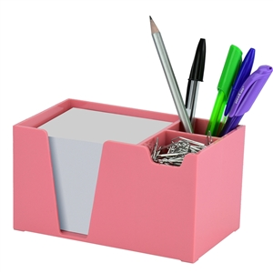 Acrimet Desk Organizer Pencil Paper Clip Holder (Solid Pink Color) (With Paper)