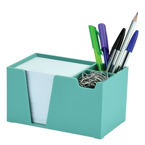 Acrimet Desk Organizer Pencil Paper Clip Holder (Solid Green Color) (With Paper)