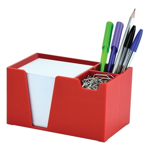 Acrimet Desk Organizer Pencil Paper Clip Holder (Red Color) (With Paper)