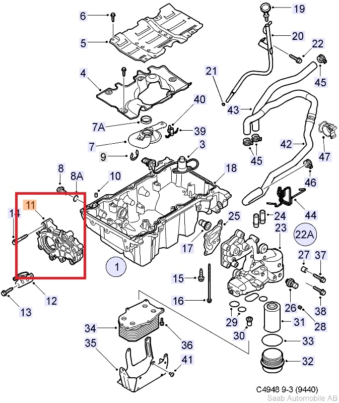 lubrication system oil pan oil filter 6 cylinder rh saabusaparts com Engine Oil Splash Oil Derrick Diagram