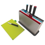 joseph joseph silver index advance chopping board set with knives