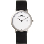 danish design round silver titanium gents watch