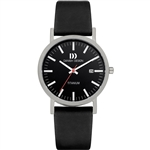 danish design rhine black black date medium gents watch