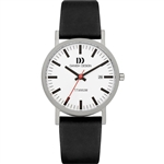 danish design rhine white black date medium gents watch