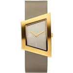 danish design squeezy gold tan ladies watch