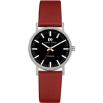 danish design rhine black red small ladies watch