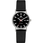 danish design rhine black black date small ladies watch