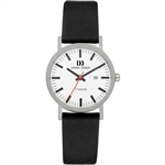danish design rhine white black date small ladies watch