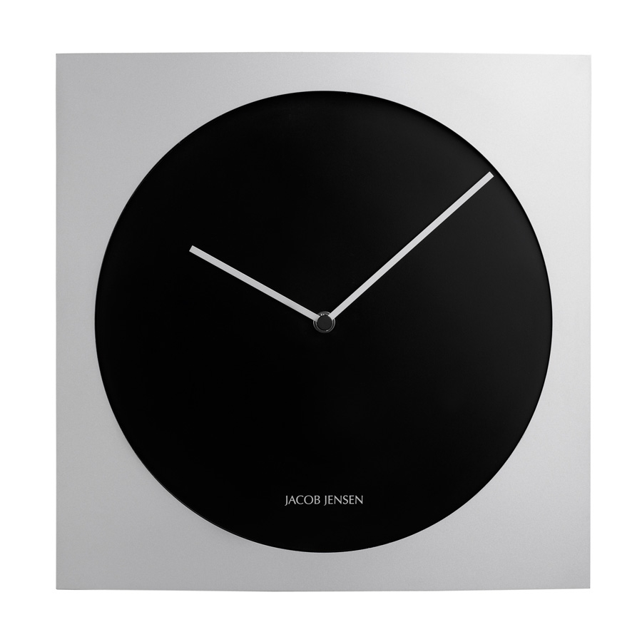 jacob jensen silver and black  wall clock from designplease - jacob jensen silver and black  wall clock