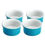 kuchenprofi set of 4 blue & cream ramekins