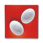 mebel entity 19 set of 2 white bowls on red square tray
