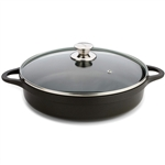 valira 32cm black short casserole pan with glass lid