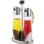 valira isola oil and vinegar salad set on a stand