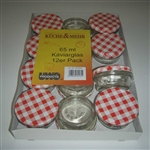 uwo wolf pack of 12 x 65ml preserving jars with red lids