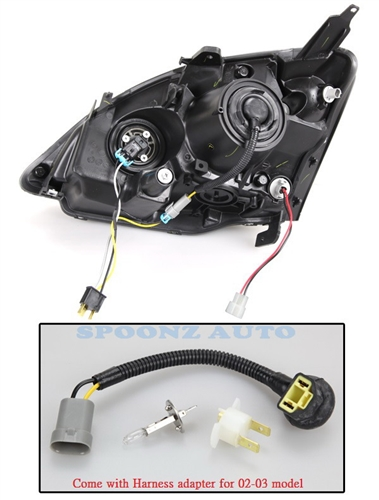 02-05 Civic EP3 Hatchback Projector Headlight - BLACK on