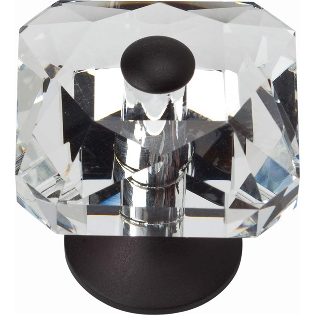 "1-1/2"" CRYSTAL SQUARE KNOB - MATTE BLACK"