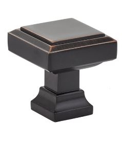 EMTEK - GEOMETRIC SQUARE KNOB - OIL RUBBED BRONZE