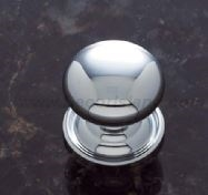 "JVJ MAXWELL - 1 PIECE HEAVY PLYMOUTH KNOB WITH BACK PLATE 1 1/8"" - POLISHED CHROME"