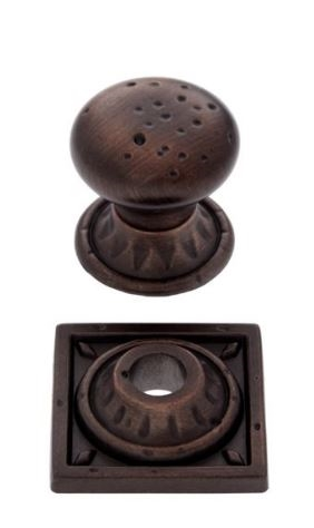 JVJ MAXWELL - PITTED MUSHROOM KNOB WITH ROUND & SQUARE BACK PLATE - OLD WORLD BRONZE