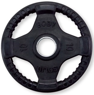 Body Solid ORT10 Rubber Grip Olympic Plate 10 Lbs Black Image