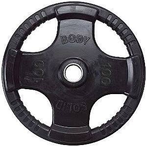Body Solid ORT100 Rubber Grip Olympic Plate 100 Lbs Black Image