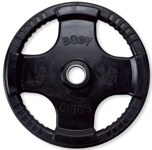 Body Solid ORT45 Rubber Grip Olympic Plate 45 Lbs Black Image