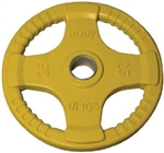 Body Solid ORTC25 Rubber Grip Olympic Plate 25 Lbs Yellow Image