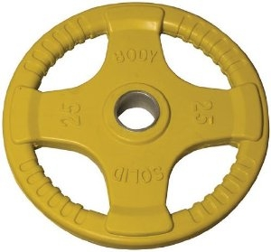 Body Solid Rubber Grip Olympic Plate 25 Lbs Yellow Image
