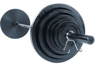 Body Solid Olympic Weight Set 300 Lbs.- Black Bar. Image