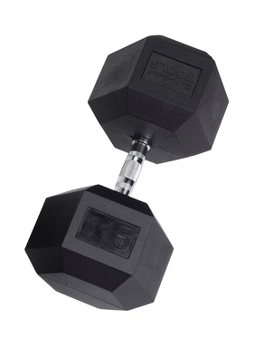 Body Solid Rubber Coated Hex Dumbbell 115 Lbs Image
